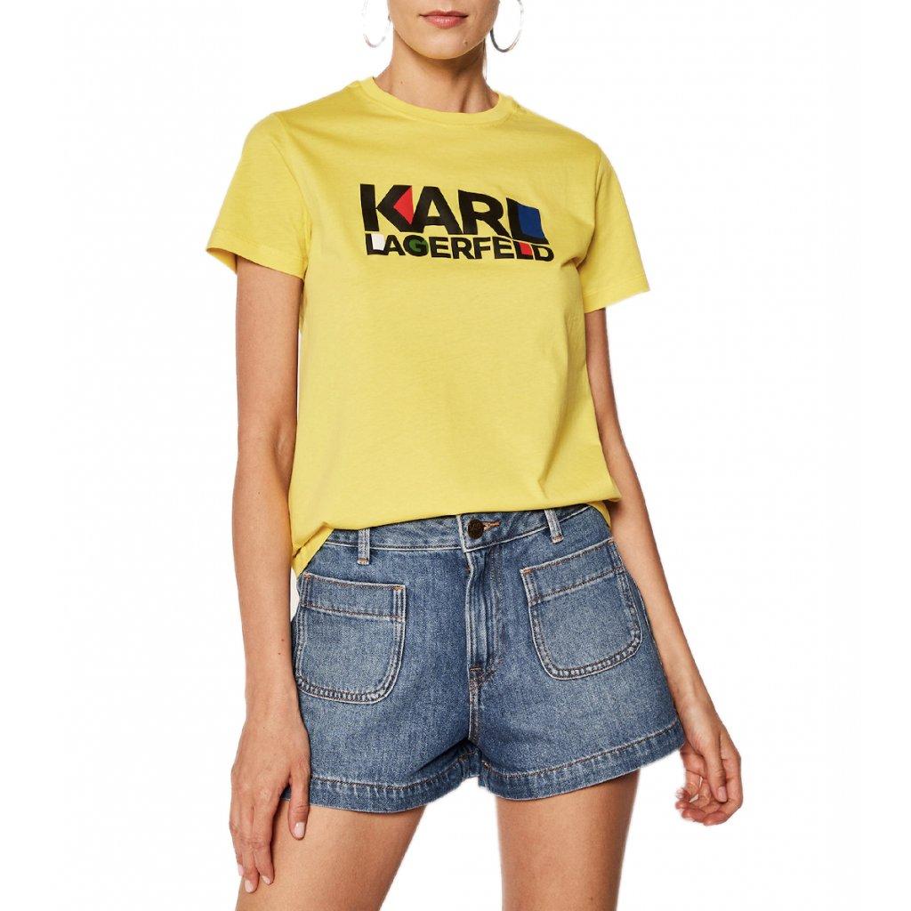 karl lagerfeld t shirt bauhaus stacked logo 201w1733 zluta regular fit cut