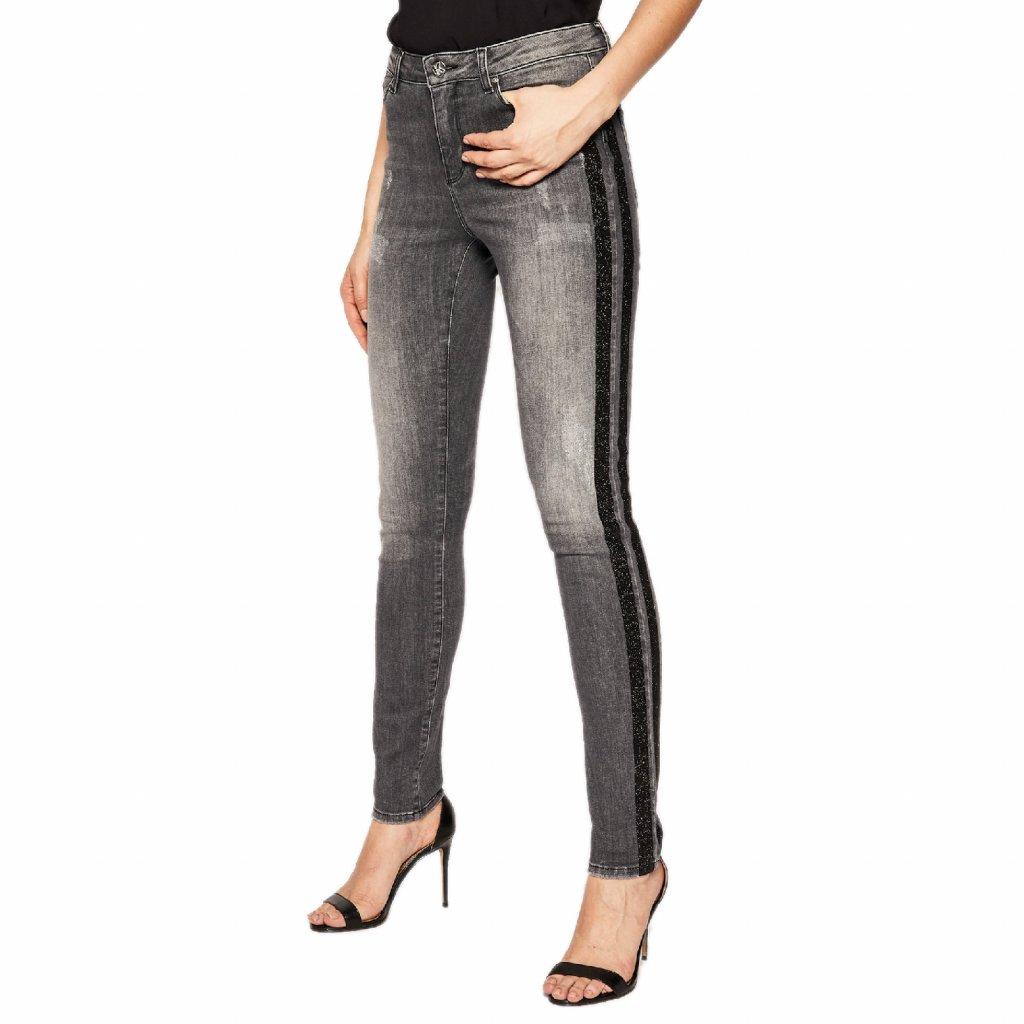 karl lagerfeld jeansy skinny fit sparkle 96kw1102 szary skinny fit cut