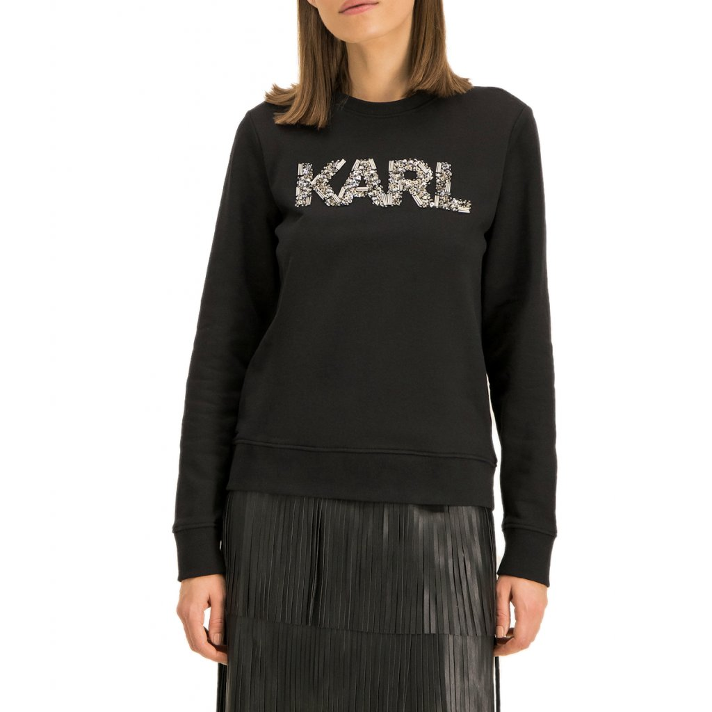 karl lagerfeld mikina oui 96kw1828 cerna regular fit cut