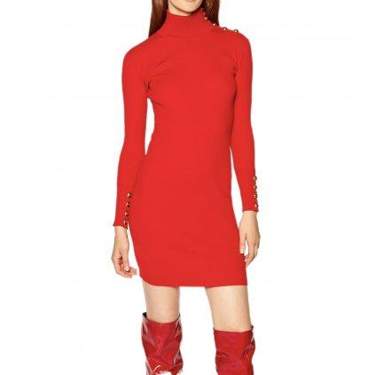 pinko upletove saty cuba al 20 21 blk01 1g157y y6ed cervena slim fit cut