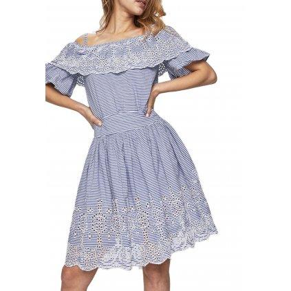 Modrobílé šaty - GUESS