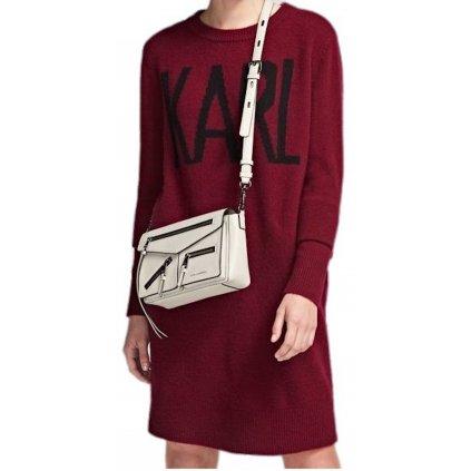 Vínové vlněné šaty - KARL LAGERFELD