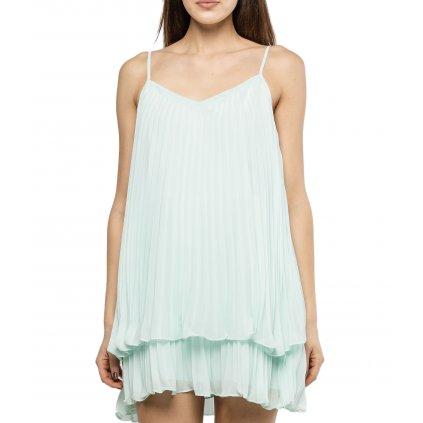 Mintové plisované šaty - GUESS