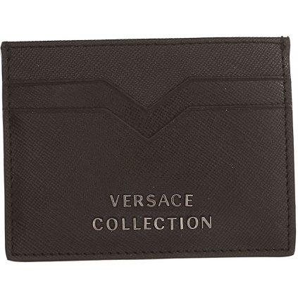 Černé kožené pouzdro na kreditní karty - VERSACE COLECTION