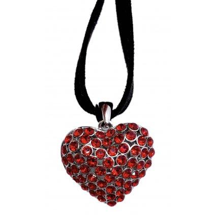 Stříbrný náhrdelník s červenými kamínky