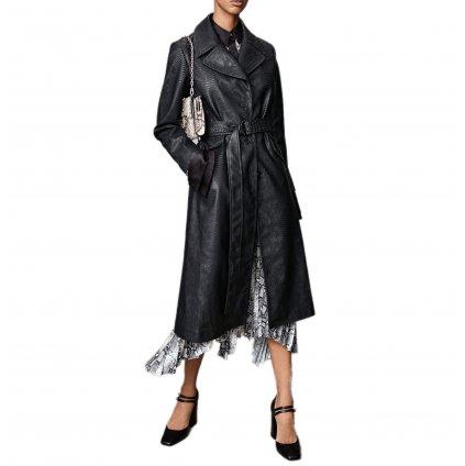 Černý kožený kabát - KARL LAGERFELD   FAUX SNAKE COAT
