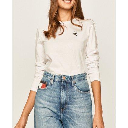 Bílé tričko s dlouhým rukávem - KARL LAGERFELD | Ikonik