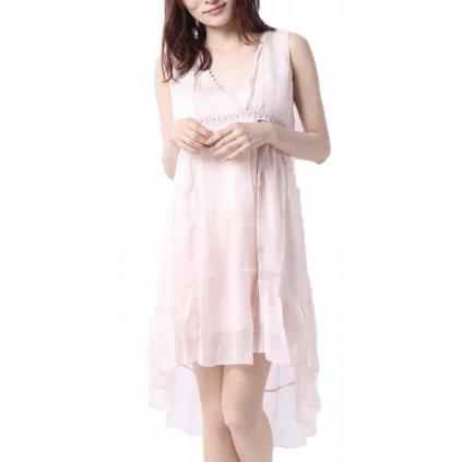 Růžové hedvábné šaty - GUESS