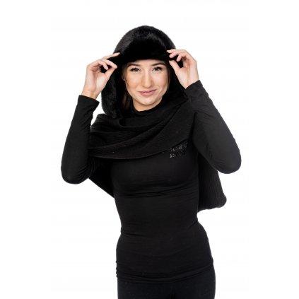 Černá pletená kapuce - GUESS