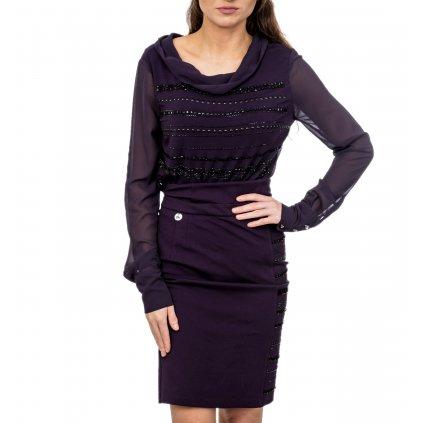 Fialové dvoudílné šaty - MET JEANS