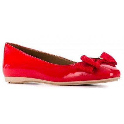 Červené kožené baleríny - EMPORIO ARMANI