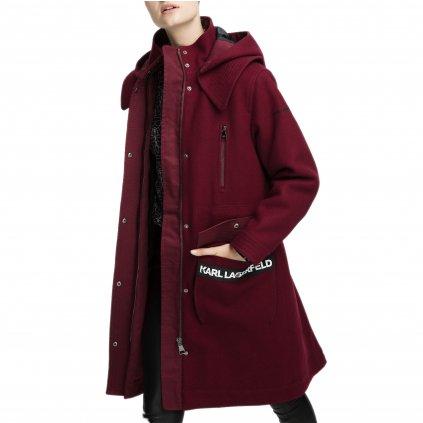Tmavě červený vlněný kabát - KARL LAGERFELD