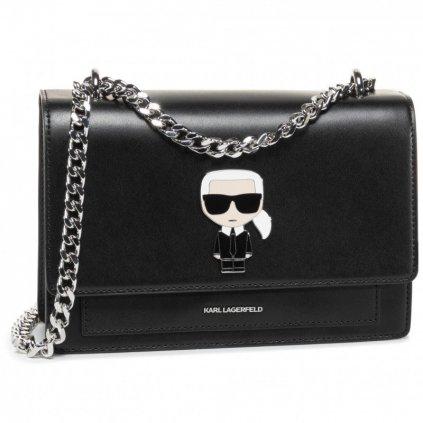 Černá kožená kabelka - KARL LAGERFELD | ikonik