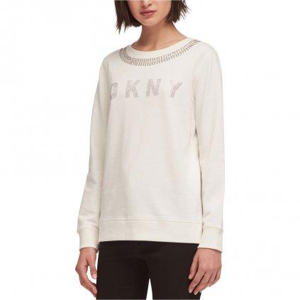 DKNY Womens Embellished Logo Sweatshirt, off white, Large