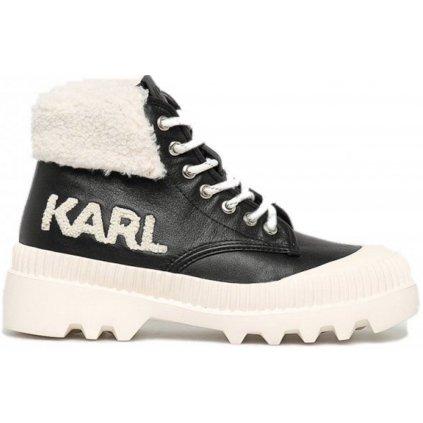 Černé kožené boty - KARL LAGERFELD