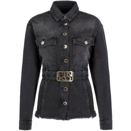 pinko jeansova bunda brasil 1n12kw y646 cerna regular fit cut