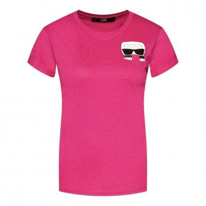 karl lagerfeld t shirt ikonik pocket 205w1701 ruzova regular fit 4 cut