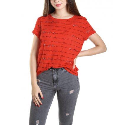 guess dámské červená triko s potiskem (2) cut