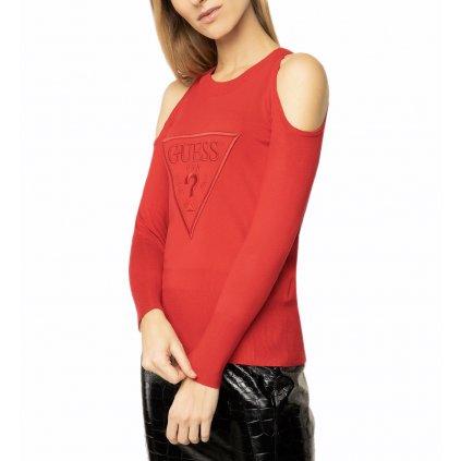 guess svetr w01r95 z2760 cervena regular fit cut