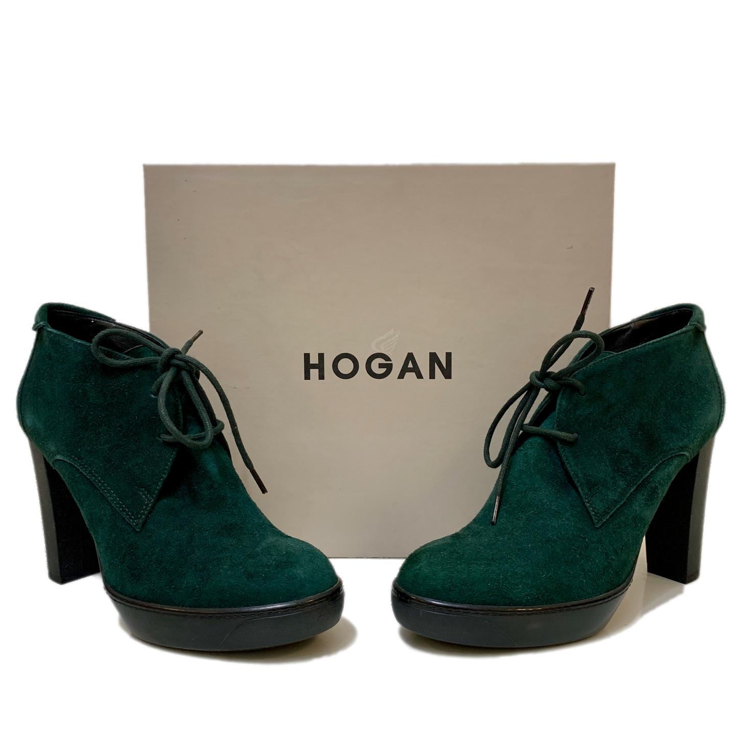 Luxusní zelené semišové kotníkové boty HOGAN