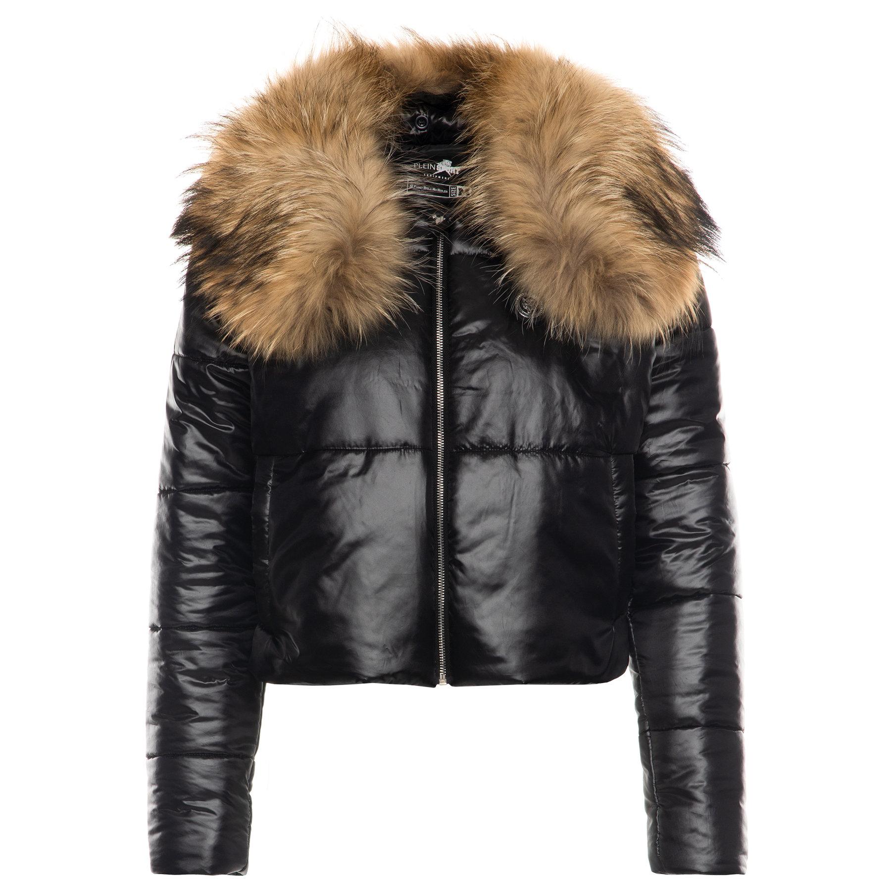 Černá zimní bunda s pravou kožešinou - PHILIPP PLEIN