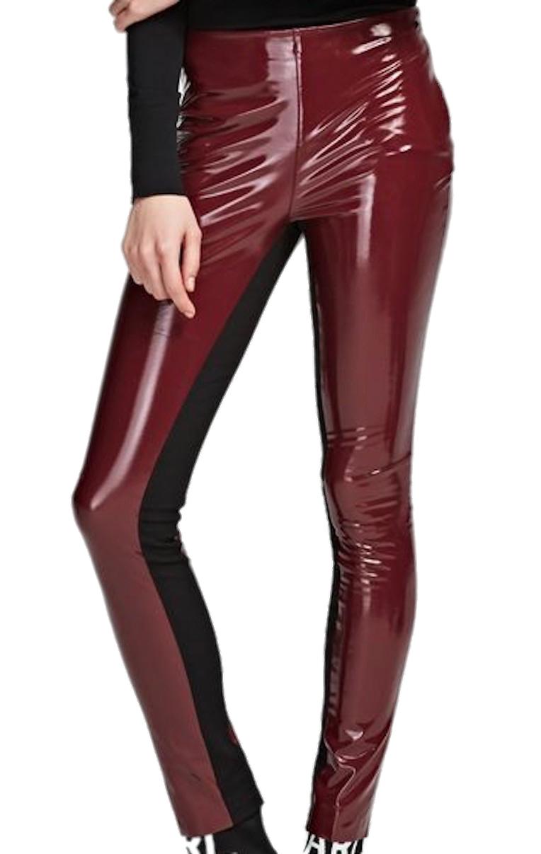 Vínové lesklé kalhoty KARL LAGERFELD