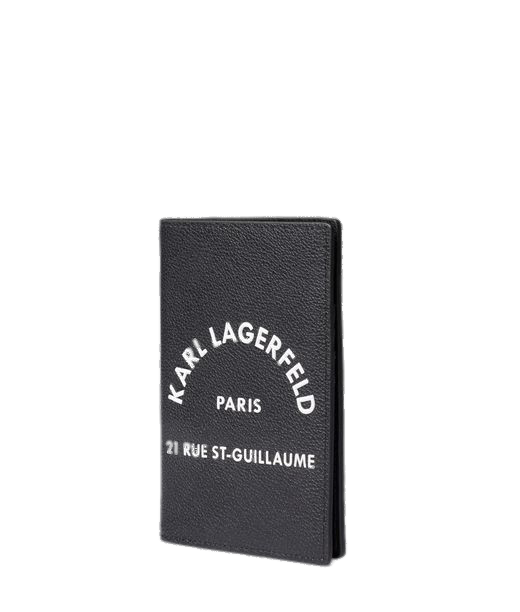 Černé kožené pouzdro na pas a kreditní karty - KARL LAGERFELD