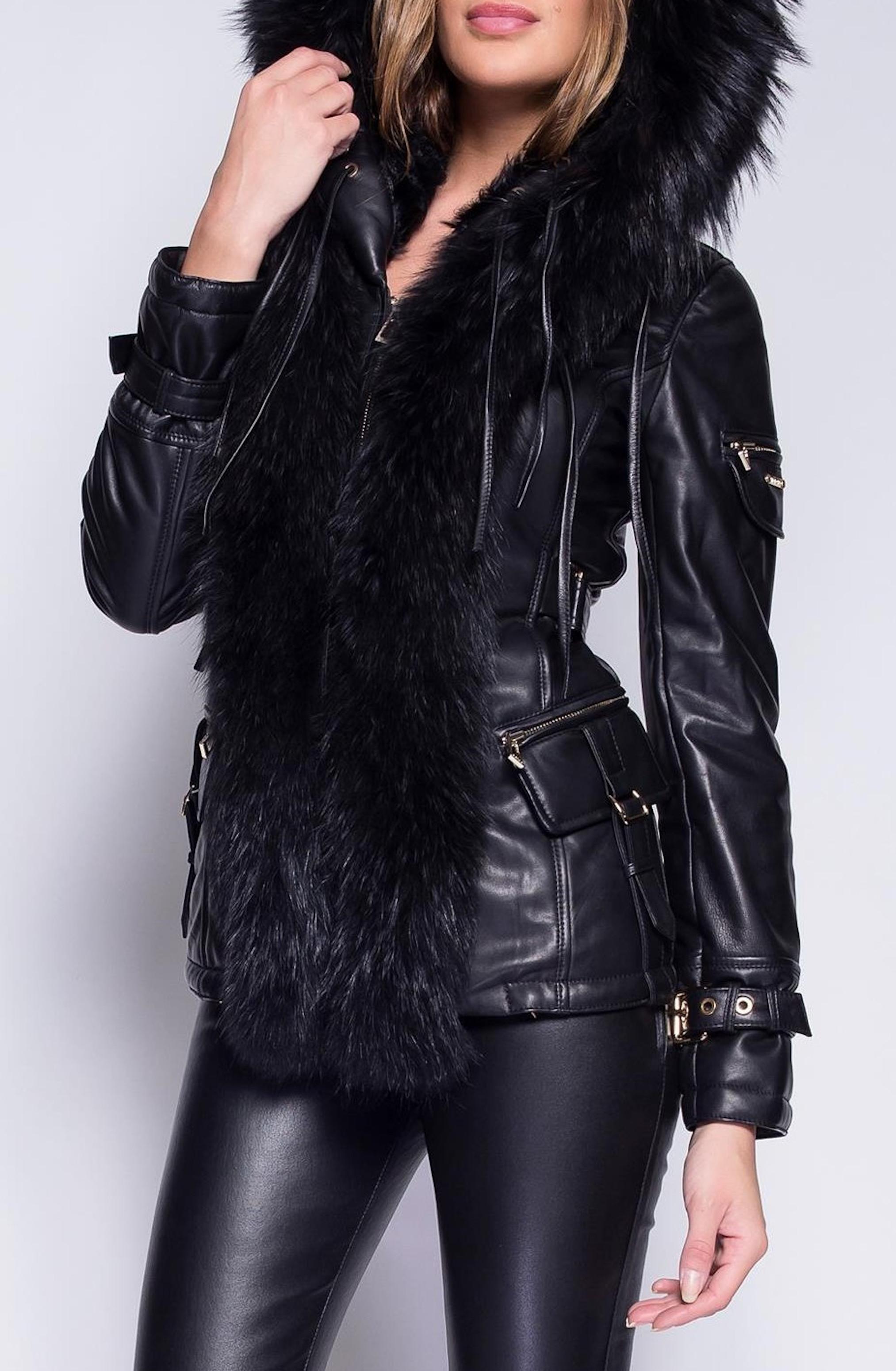 Černá kožená zimní bunda s mývalí kožešinou - GIORGIO & MARIO