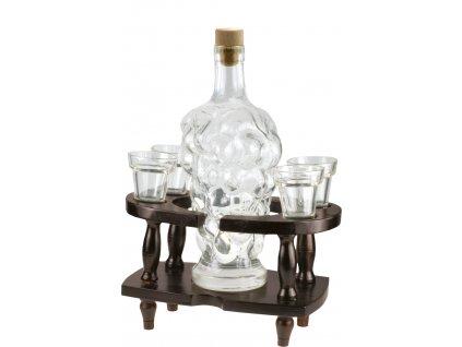 Skleněná láhev na likér se 4 skleničkami Martius
