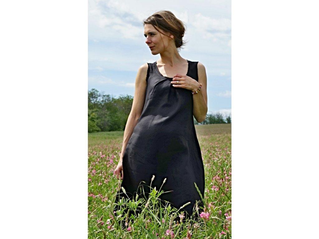 Lněné letní šaty černé (Le-Mi)