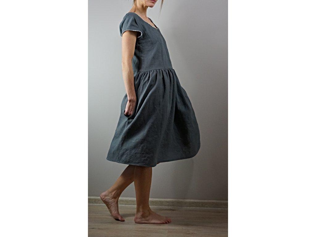 Lněné šedé nabírané šaty (Le-Mi)