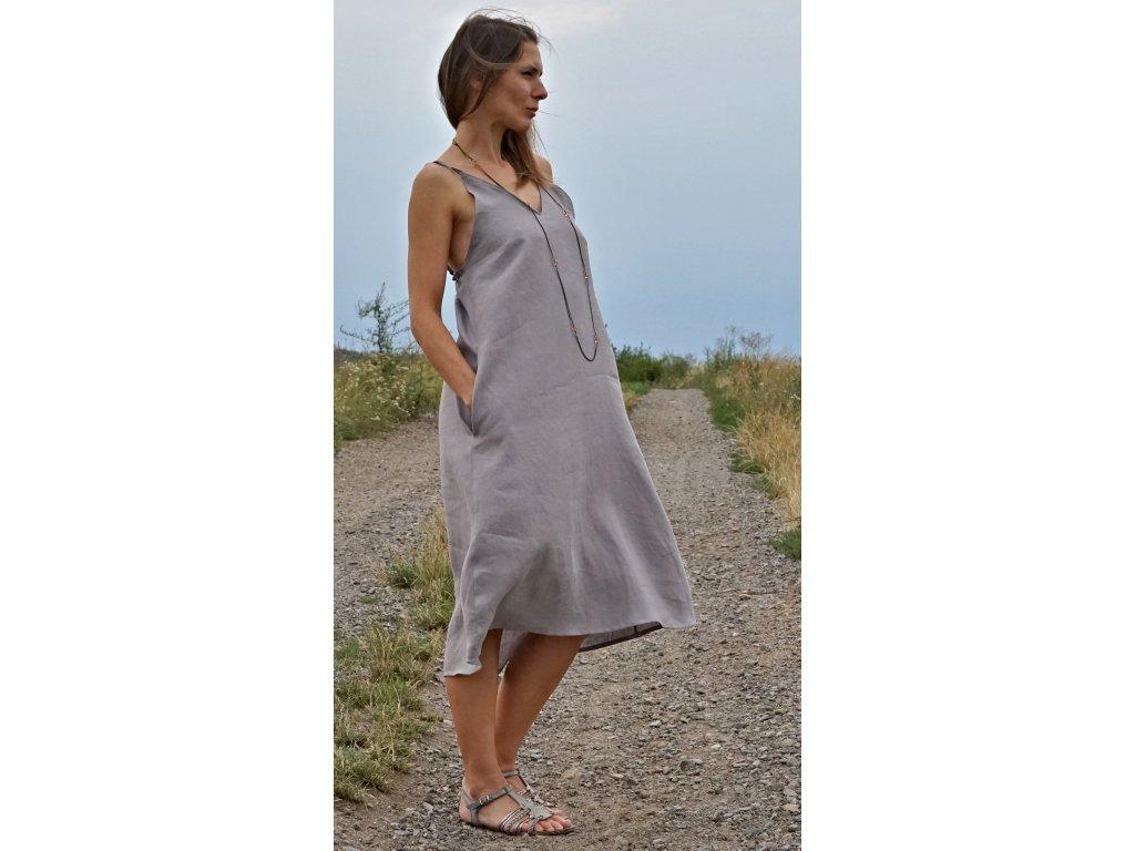 Lněné letní šaty na ramínka světle šedé (Le-Mi)