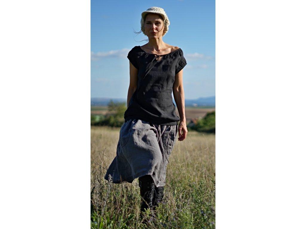 Lněná šedá sukně (Le-Mi)