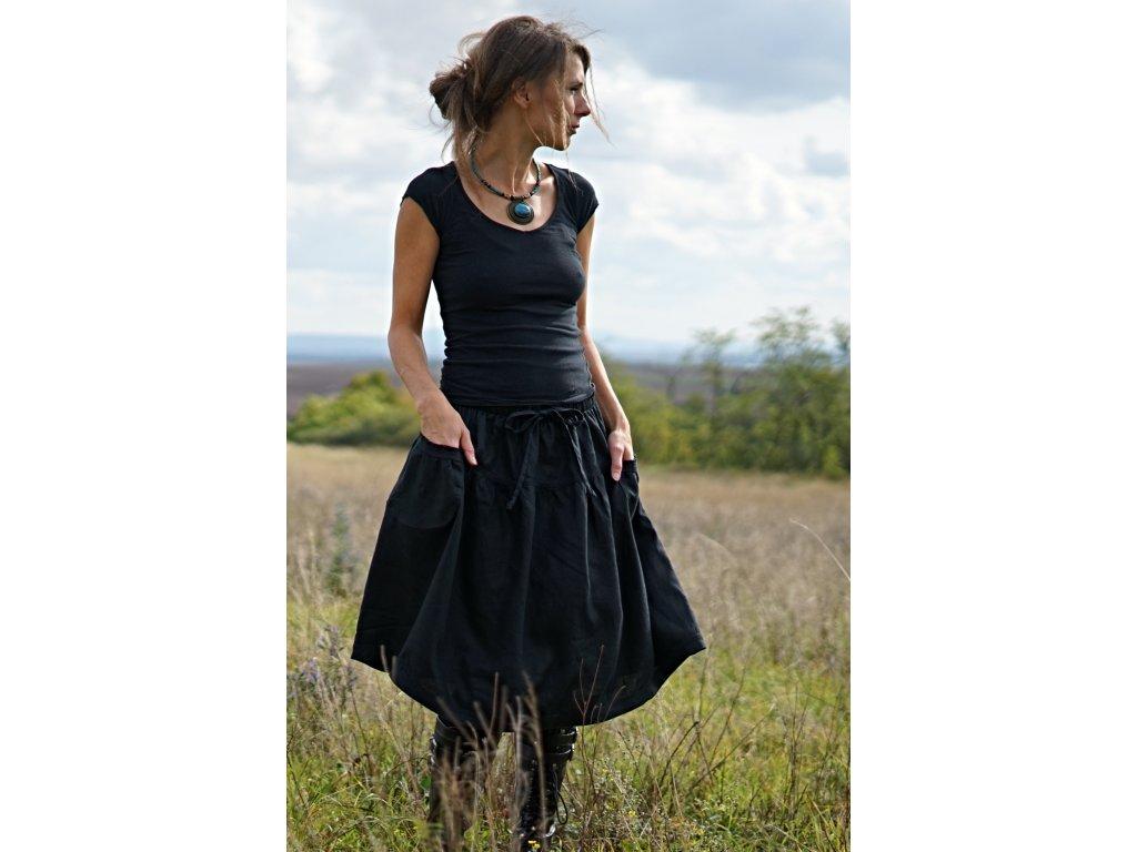 Lněná sukně černá (Le-Mi)
