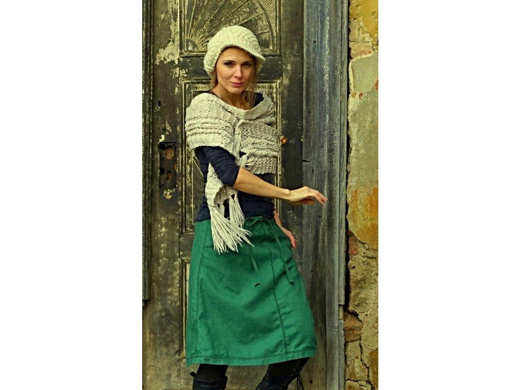 Lněná sukně zelená trávová (Le-Mi)