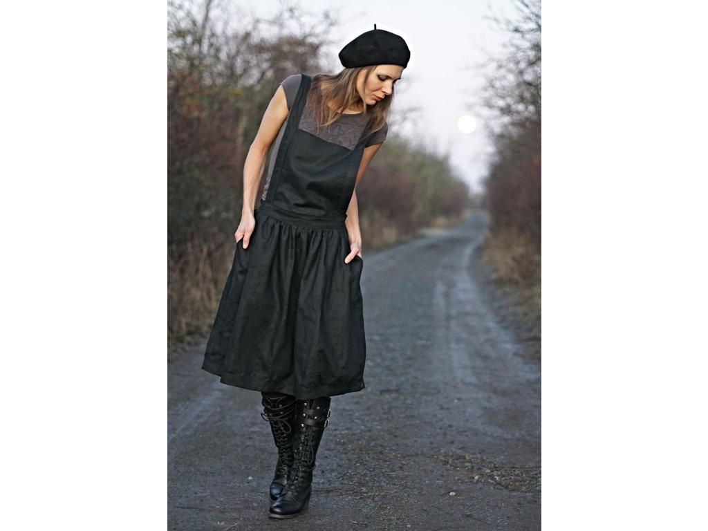 Lněné černé šaty s laclem s výšivkou Le-Mi česká autorská móda)