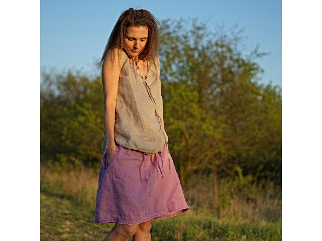 Šeříková lněná sukně s výšivkou (česká autorská móda Le Mi) IV
