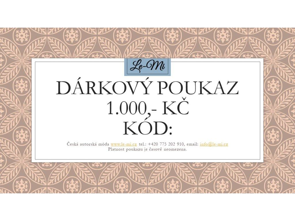 Dárkový poukaz na 1000, Kč (Le Mi česká autorská móda)