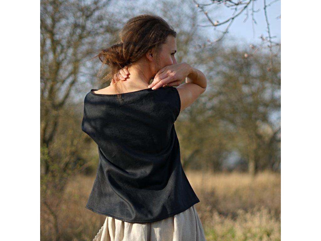 Simple Halenka lněná černá (Le Mi česká autorská móda) 1