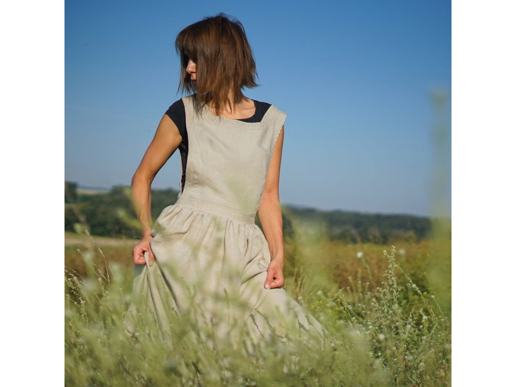 Pozdní léto lněné šaty s krajkou III (Le Mi)