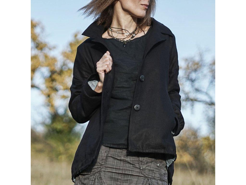 Lněné sačko černé (Le Mi autorská móda) 1
