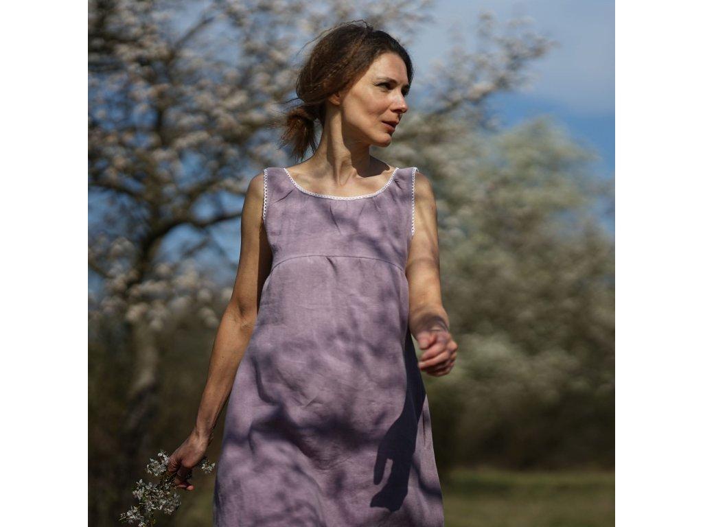 Šeříkové lněné šaty (Le Mi) 1