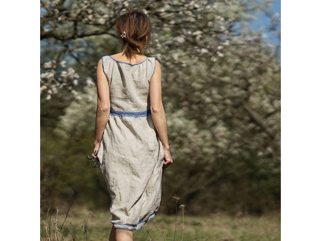 Režné s modrou krajkou lněné šaty (Le Mi) 12