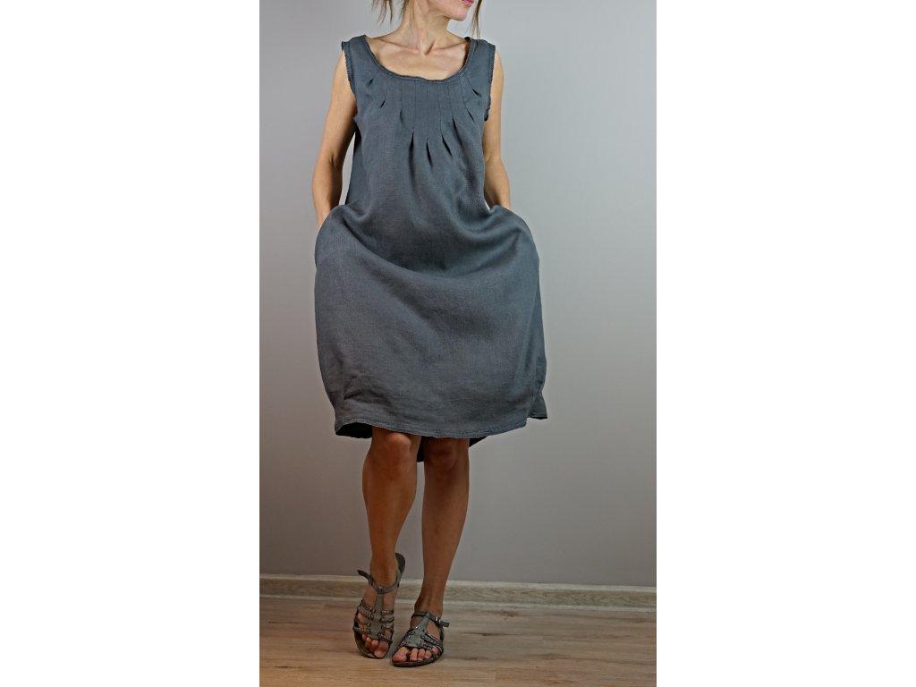 Šedé letní lněné šaty (Le-Mi)