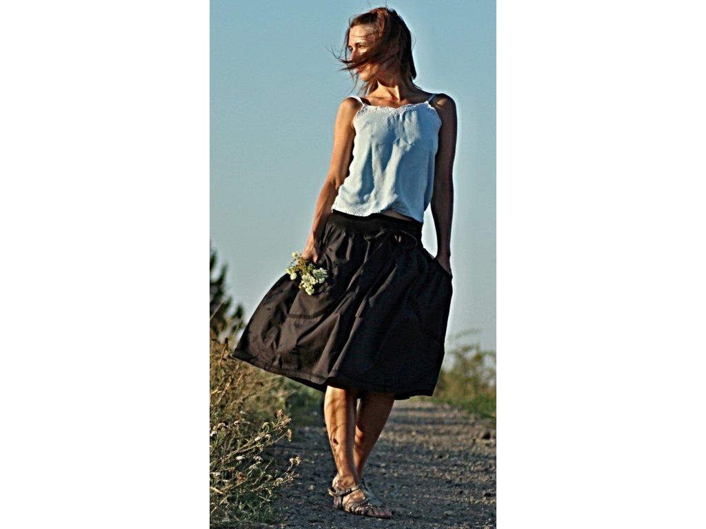 Černá letní sukně s krajkou popelínová (Le-Mi)
