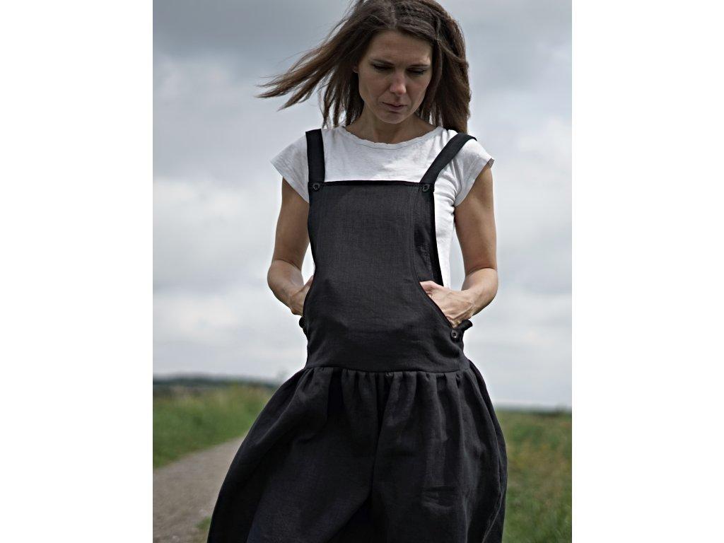 Lněné letní šaty s laclem černé (Le-Mi)