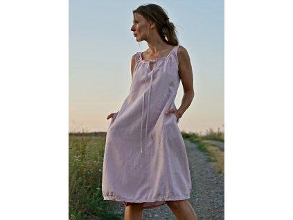 Starorůžové šaty - Letní lněné šaty (Le-Mi)