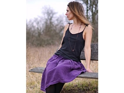 Wild Berry - lněná boho sukně fialová (Le-Mi)