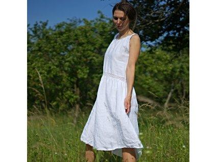 Šaty bílé lněné s krajkou IV (Le Mi česká autorská móda)