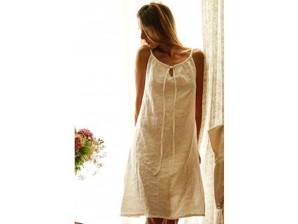 Noční košilka lněná bílá I (Le Mi)
